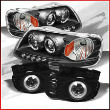 Fits 99-03 Ford F150 Black LED Projector Headlights + Halo Projector Fog Lights