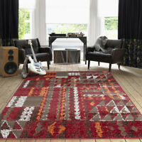 Orange Red Geometric Runner Rug Aztec Hall Runner Long Terracotta Patchwork Rugs
