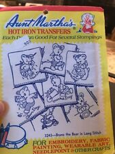 Aunt Martha's Hot Iron Transfers 3243 Bruno The Bear In Long Stitch New
