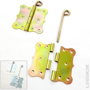 Pair (2pc) Backflap - Removable Pin Decorative Butt Hinges Galvanized Steel