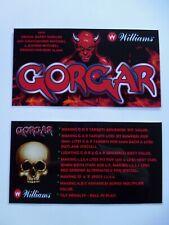 * * 'GORGAR' Williams 1979 Custom Instruction/Apron Cards * * (New)