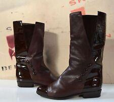Damen Lack Stiefel Brunella Reiter Stil 90er TRUE VINTAGE Boots laquer brown