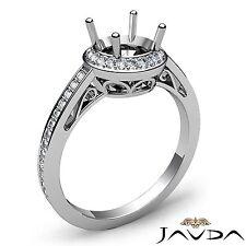 Diamond Engagement Filigree Ring Halo Pave Round Semi Mount 18k White Gold 0.5Ct