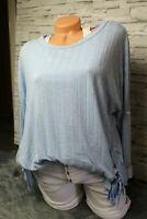 Italy Shirt Pullover Gr. 36 38 40 42 Top und Sweat mit Schleife blogger blau