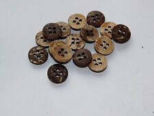 lot new 10 Real Vegan Natural Coconut Shell Buttons sizes 7/16,1/2, 5/8,3/4  #NC