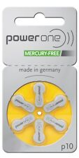 Battery 10 PowerOne (60ea/pkg) p10 Zinc Air Hearing Aid Batteries (Yellow) Siz..