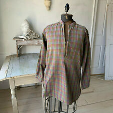 Vintage Plaid Shirt Men's 1920s French Workwear Open Neck Soft Cotton Tunic