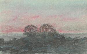IMPRESSIONIST TREES IN LANDSCAPE Pastel Drawing MARCUS ADAMS c1950