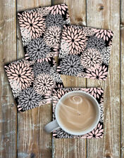 Dahlia Drink Coasters Set of 4 Non Slip Neoprene Floral Design Coasters