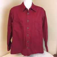Cabela's Mens Metal Button Front Shirt 100% Cotton Denim Red Large Free Shipping