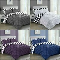 LUXURY DUVET COVER SET CHECK PINTUCK QUILT BEDDING SETS DOUBLE SUPER KING SIZES