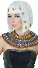 White Egyptian Wig Stick on Hieroglyphics Blunt Bob Bangs Albino Queen of Nile