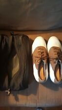 MEN'S AIR NIKE LEATHER BROWN & WHITE SADDLEGOLF SHOES Size 12W  BLACK POUCH