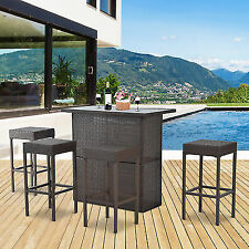 5 Piece Outdoor Patio Rattan Bar Set