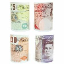 Prima £5 £10 £20 £50 Pound Note Design Kids Money Box Tin Saving Cash