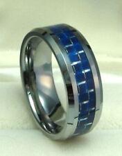 8mm TUNGSTEN CARBIDE ring w/ BLUE Carbon Fiber size 12