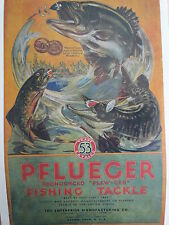 Pflueger Fishing Tackle 1917 Advertising Poster Akron Ohio