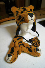 wildcat LEOPARD HAT & MITTENS deLux cap SET knit ADULT costume LINED mens womens