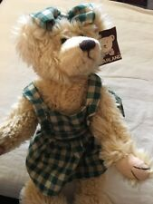 """Bearland Tan FemAle Bear Plush In A Green And Tan Dress With Bow 14"""" #7550"""