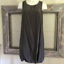 J Crew Silk Dress Size 10 Large Grey Gray Pouf Shift Tank Sleeveless Bubble NWT