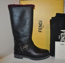 NIB $1500 FENDI Moto Buckle Knee High Black Leather Boots Boot Lined Shearling 7