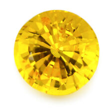 5.68mm Round Certified Natural Ceylon Golden Yellow Sapphire 0.95ct VS Clarity