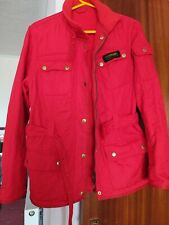 Barbour Quilted Jacket Red Fleece Lined  International Hip Length Size 12