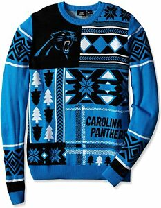 FOCO Carolina Panthers NFL Men's Patches Ugly Sweater, Blue