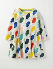 Girls Mini Boden 3/4 Sleeve Owl Print Pocket Tunic Dress 3-4 up to 8-9 years