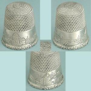 Unusual Antique Sterling Silver Landscape Thimble by Simons Bros. * Circa 1900s
