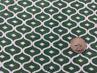 Vintage green white geometric pattern fabric whole full size feedsack 37x43
