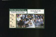 5/25/2002 Tampa Bay Rays @ Oakland A's Ticket - Aaron Harang MLB Debut 1st Win