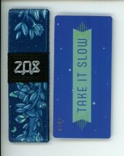 Medium ZOX Silver Strap TAKE IT SLOW Wristband with Card Reversible