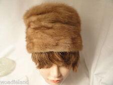 "Vintage Pill Box Honey Blonde Fur Womans Hat SMALL 20"" Inside Brim"