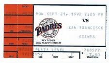 Ted Wood, Craig Colbert home runs ticket stub; Giants at Padres 9/21/1992