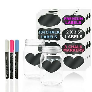 104 Chalkboard Labels & 3 Chalk Markers (Pink, White, Blue)