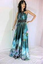 Cinderella Gown Formal Dress Pageant Size 16 Multicolor Halter Green Sexy! Tall