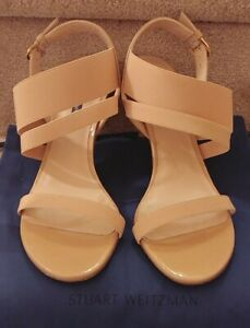 Stuart Weitzman Adrienne Tan Patent Elastic Vamp Open Toe Heels NEW $395 Sz 10
