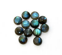 10 Pcs Natural Blue Fire LABRADORITE 5x5 mm Round Cabochon Loose Gemstone AR-11