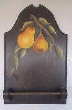 Towel Rack Hand Tole Painted Wood Folk Art Pears Vintage Wall Hanging 15 inch