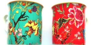 Floral Fine China Mugs - Set of Two - Gift Boxed 8.5 CM