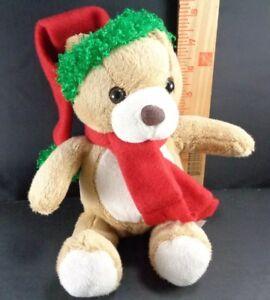 """Brown Tan Plush Stuffed Animal Christmas Teddy Toy Holiday 11"""""""