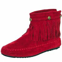 New women's shoes ankle boots fashion suede like back zipper fringe details red