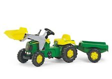 RollyKid John Deere Ride on Pedal Tractor + Front Loader + Kid Trailer - Rolly
