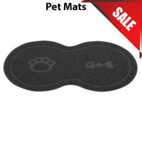 Black 8 Shaped PVC Cat Dog Mat Non-Slip Pet Food Water Bowl Feeding Placemat