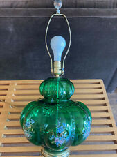 VINTAGE MID CENTURY GREEN E.F. INDUSTRIES TABLE LAMP BUBBLE BRASS FLOWERS WORKS