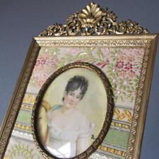 Antique FRENCH Gilt Frame Ornate CROWN Miniature Portrait PAINTING Mme Recamier