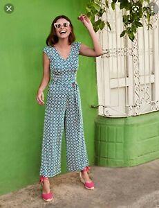 Lovely Boden PETITE Corinne Jersey Jumpsuit - Vibrant Teal Diamond Drop Size 10