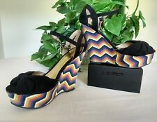Qupid® wedge platform heels zigzag print w/black suede toe out & ankle strap