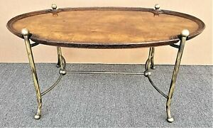 HEKMAN Hollywood Regency Burl Wood and Brass Coffee Cocktail  Center Table